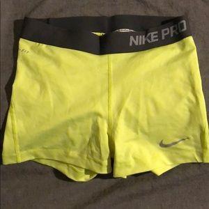 Nike Pro compression shorts - yellow w/ grey
